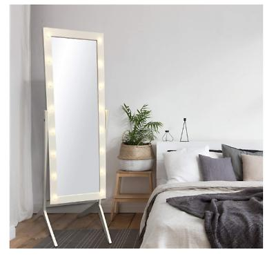 Floor Mirror LED Lights Bedroom Wood Standing Full Length Dr