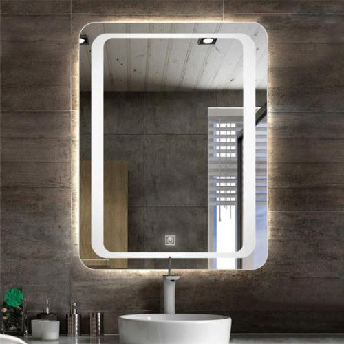 Fogless LED Lighted Vanity Wall Mirror for Makeup Button