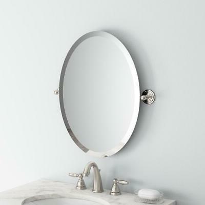 Delta in. x 18 Oval Bathroom Mirror Nickel