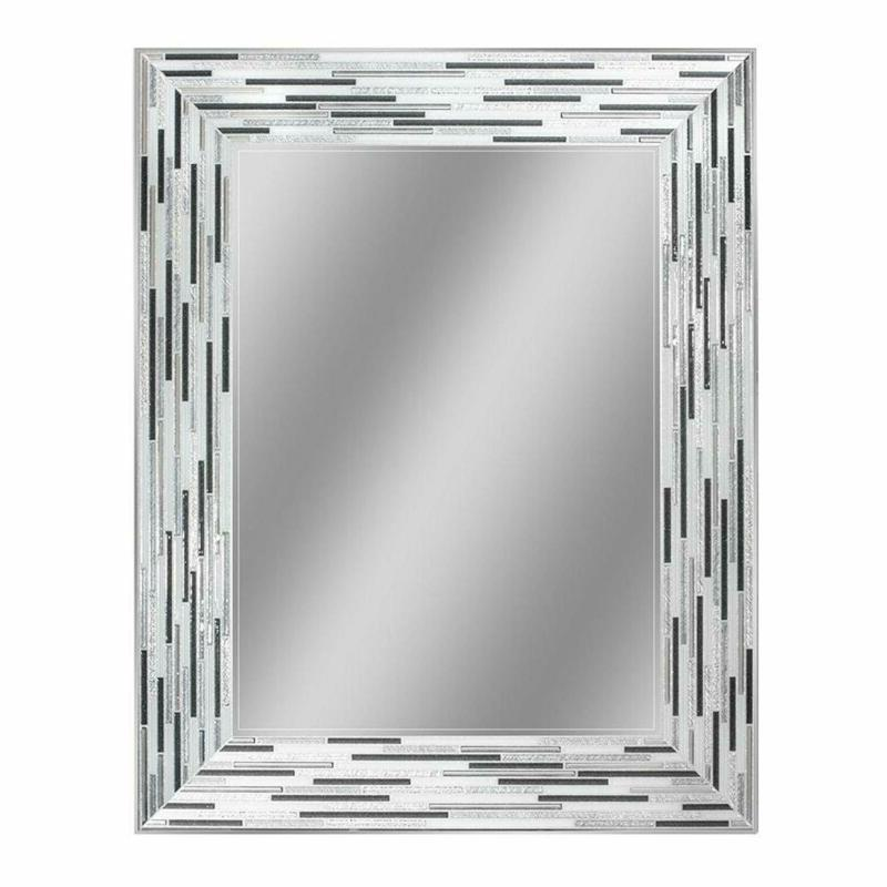 headwest reeded charcoal tiles wall mirror 30