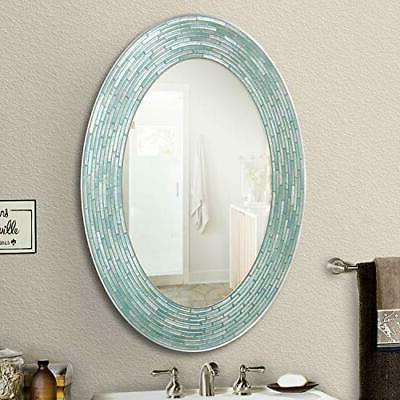 """Headwest Reeded Glass Oval Wall Mirror, 29 29"""""""