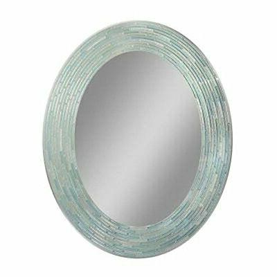 headwest reeded sea glass oval wall mirror