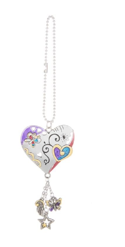 heart color art car charm with dangle