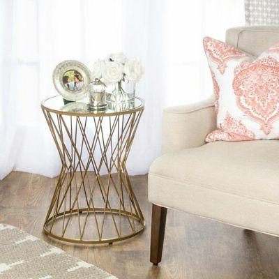 hourglass mirror top metal accent table