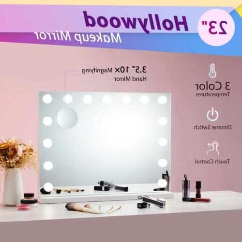 large frameless hollywood lighted makeup mirror w