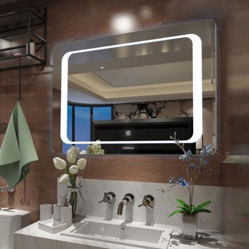 Large LED Touch Lighted Bathroom Vanity Mirror Antifog for