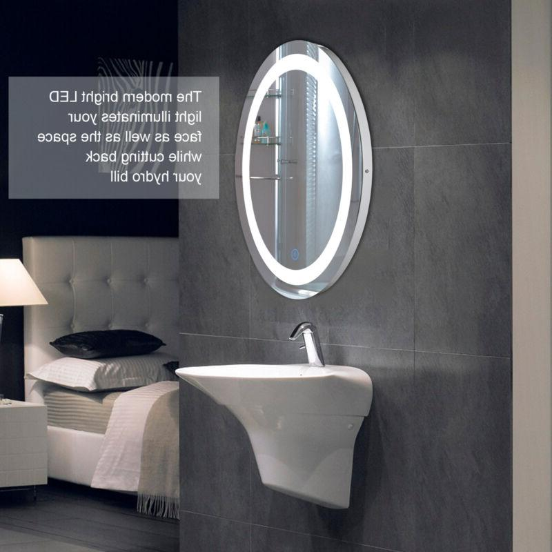 LED Bathroom Wall Mirror Lighted Mirror Button.