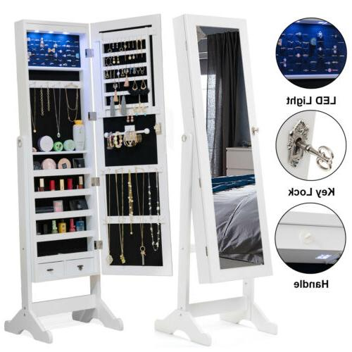 full length led mirror jewelry cabinet storage