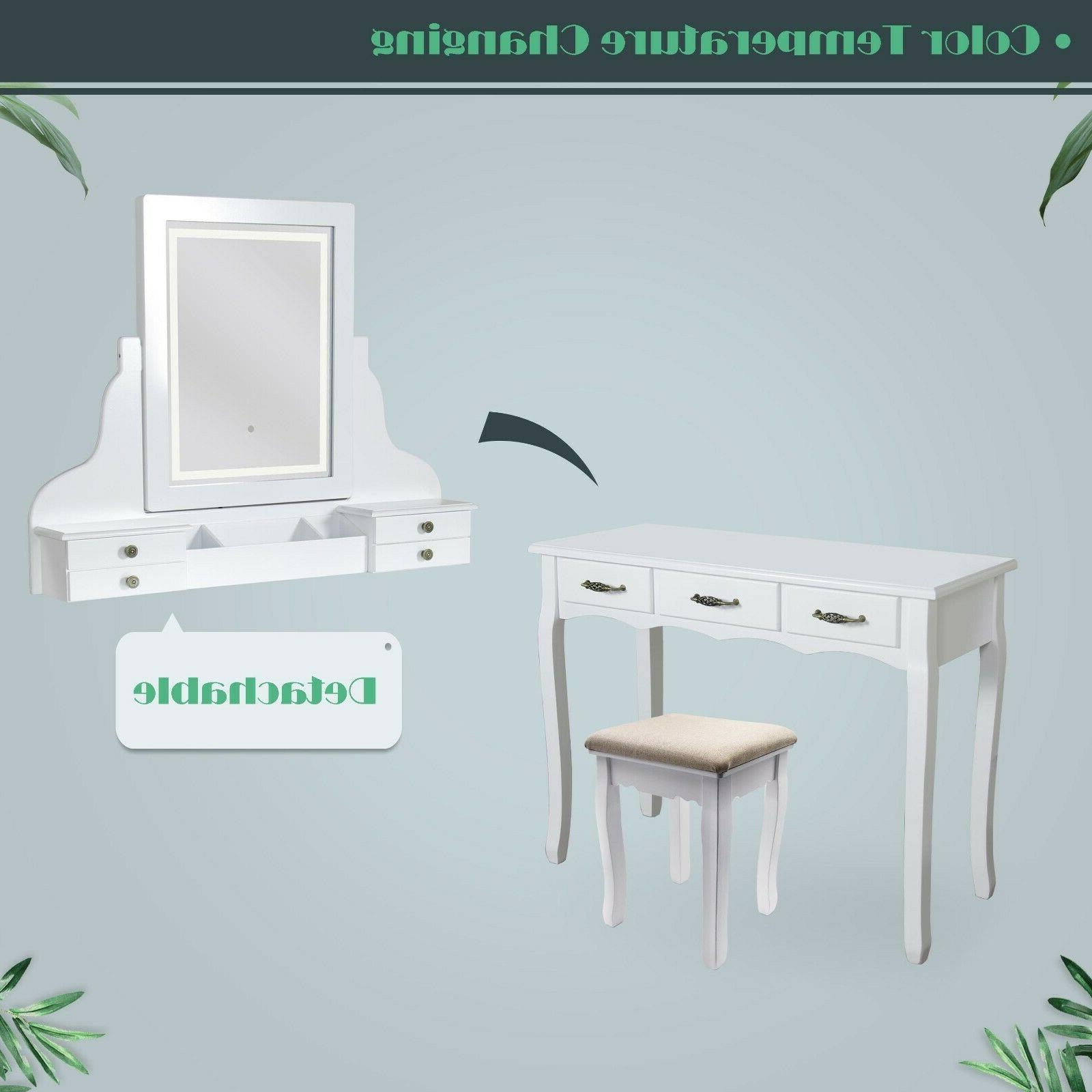 LED with Lighted Mirror and Cushioned Stool