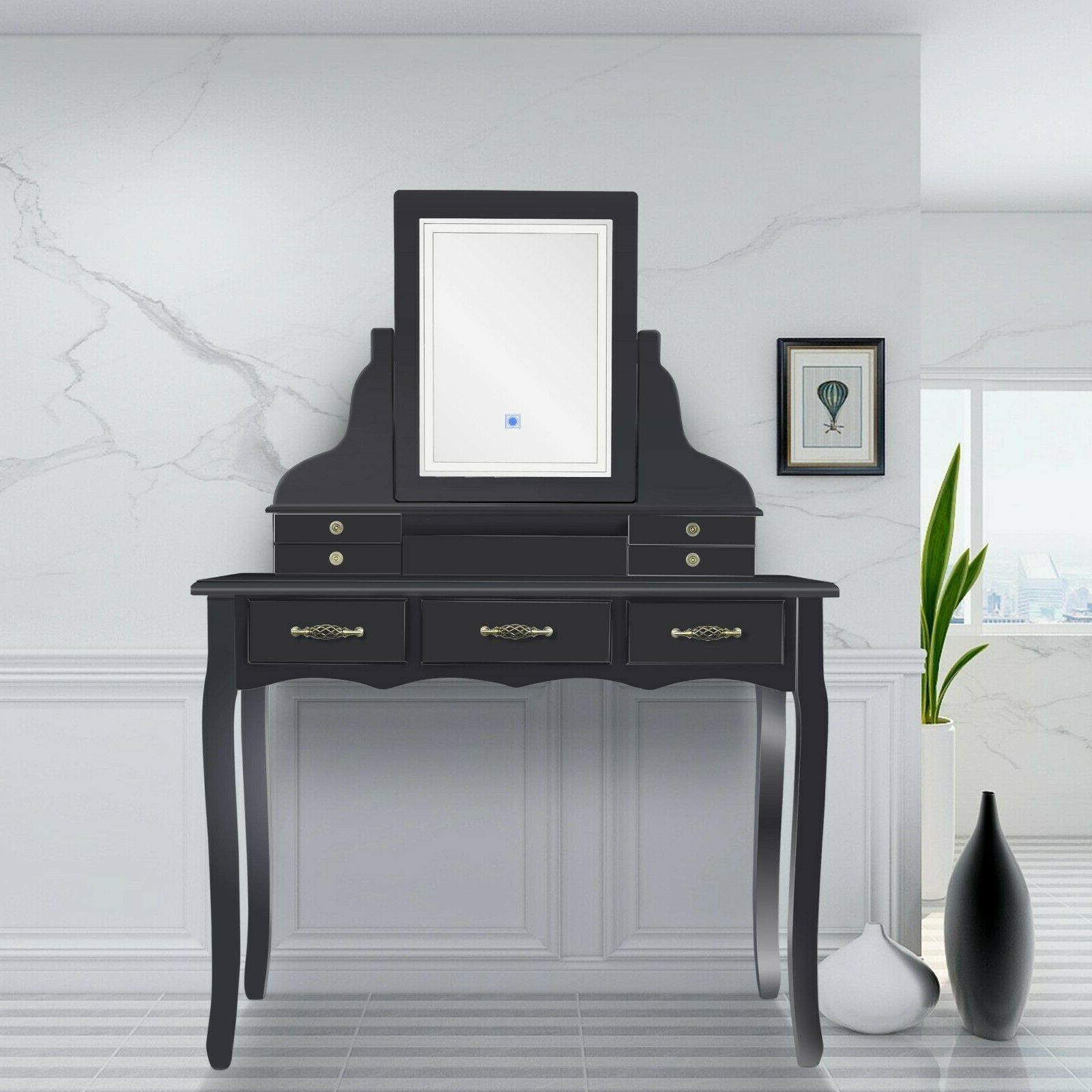 led vanity table set with lighted touch