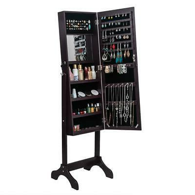 Lockable Full Length Jewelry Mirror Armoire