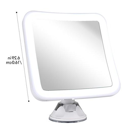 "Glam Hobby 10X Magnifying Lighted Makeup LED - Cordless, Suction, 6.5"" 360 Rotation, Portable Illuminated Bathroom Mirror"