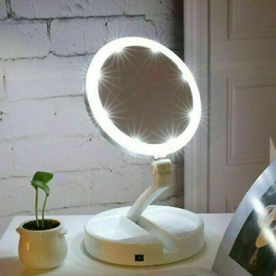 Makeup Mirror Up Double Folding 10x Magnifying Tabletop