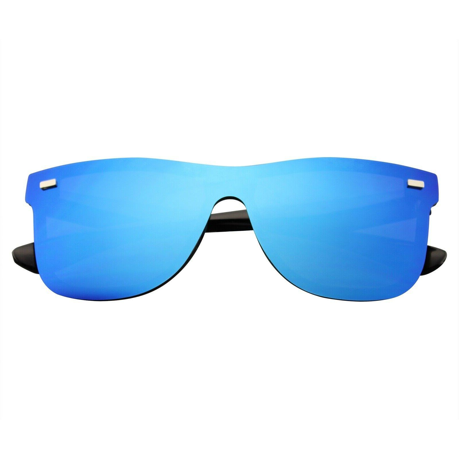 mens womens mirrored rimless color lens reflective