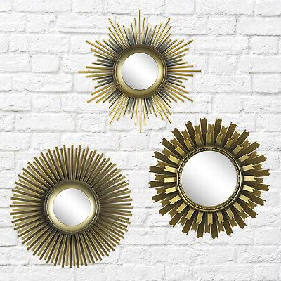 Better Homes and Gardens 3-Piece Mirror Set Gold Wall Decor
