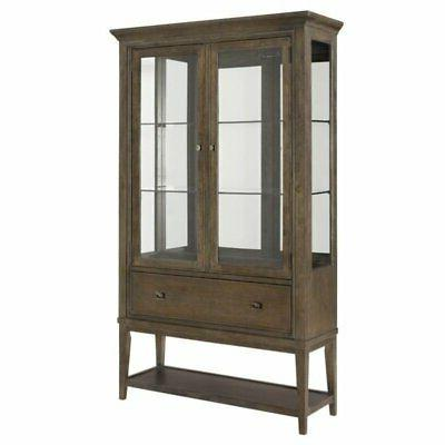 mirrored back curio china cabinet in taupe