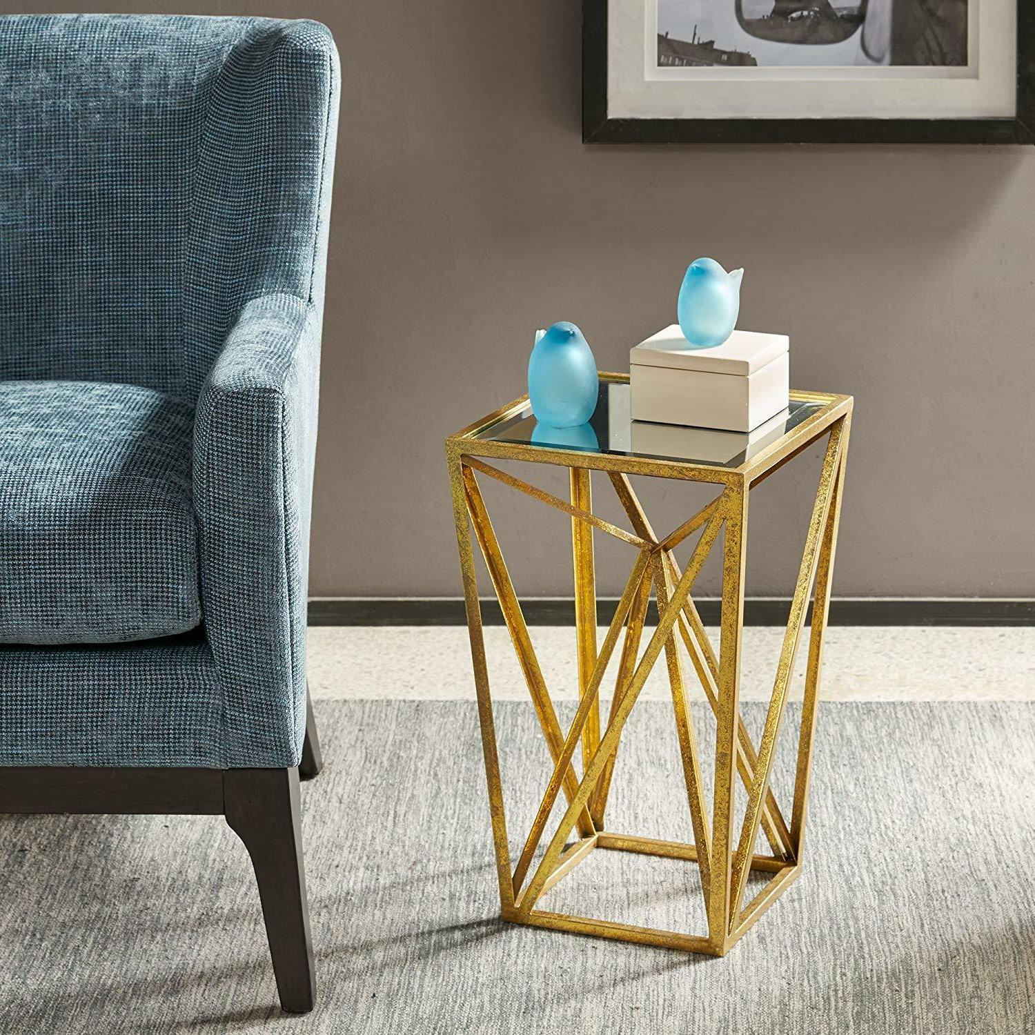 mirrored gold accent side chair table nightstand