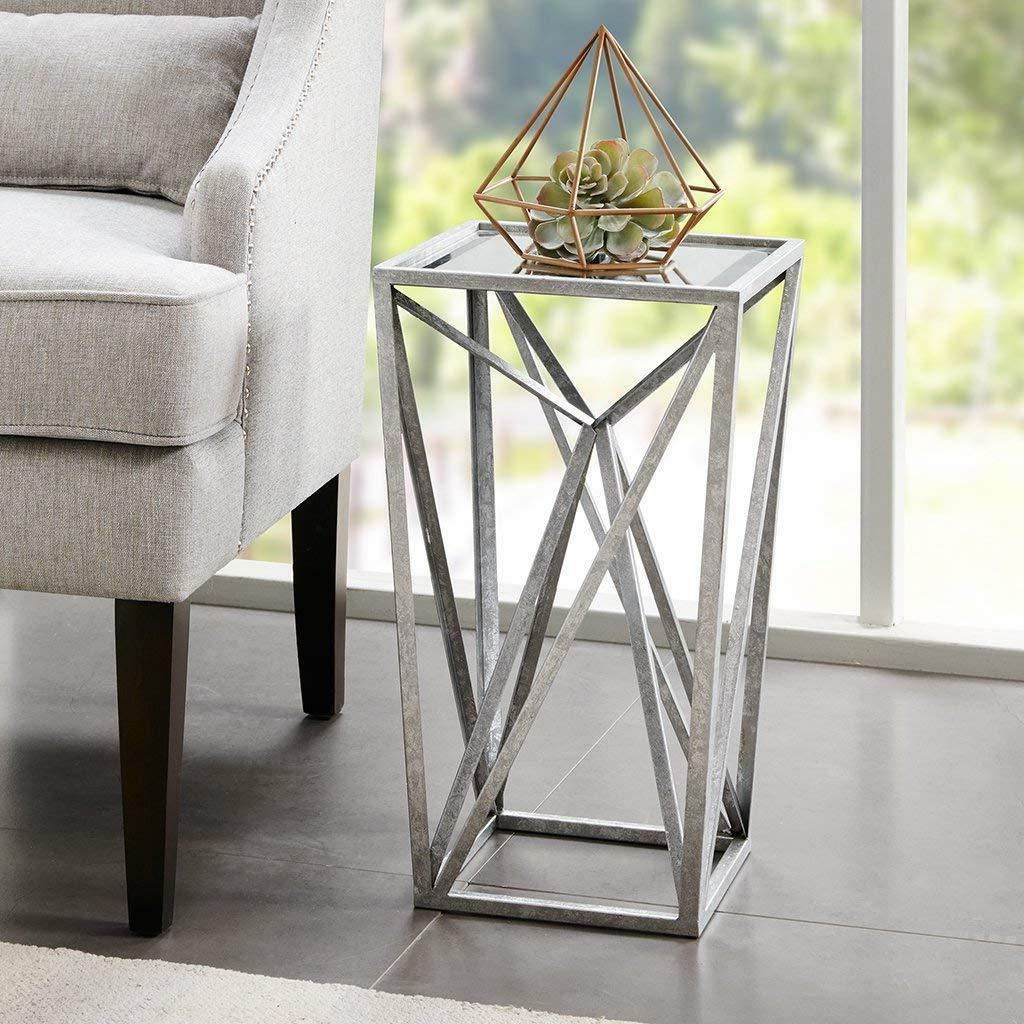 mirrored silver accent side chair table nightstand