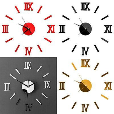 Modern DIY 3D Wall Clock Acrylic Sticker Number Mirror Surfa