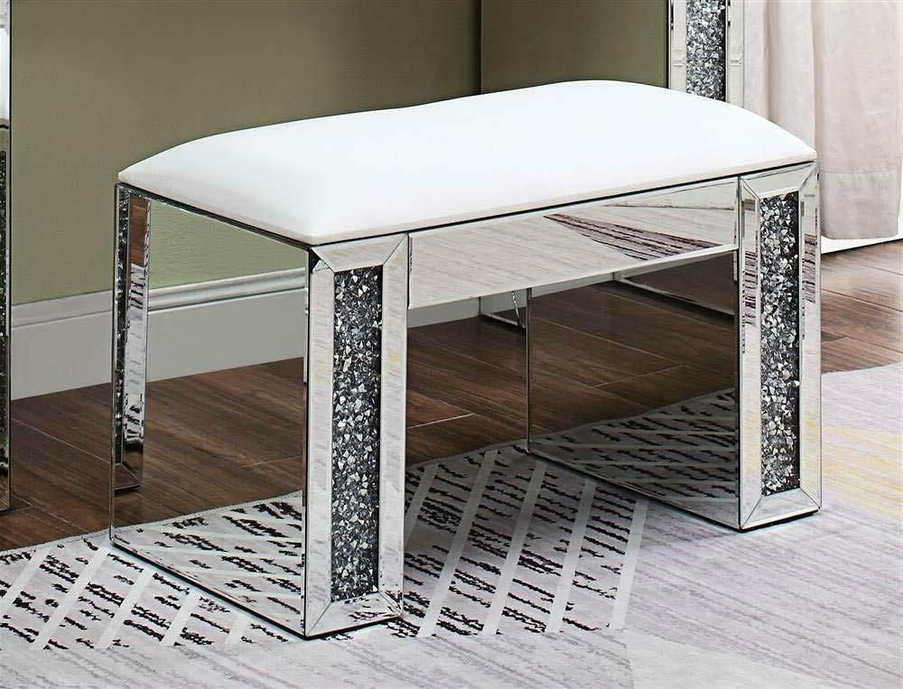 noralie vanity stool pu mirrored and faux
