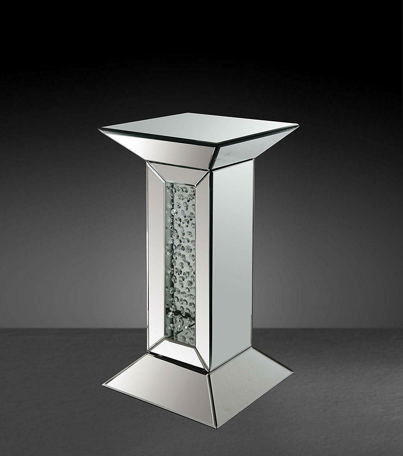 nysa mirrored pedestal accent table mirrored finish