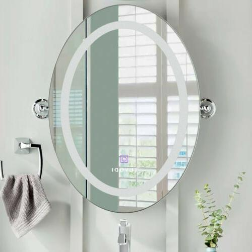Oval LED Bathroom Mount Mirror Vanity Touch Button