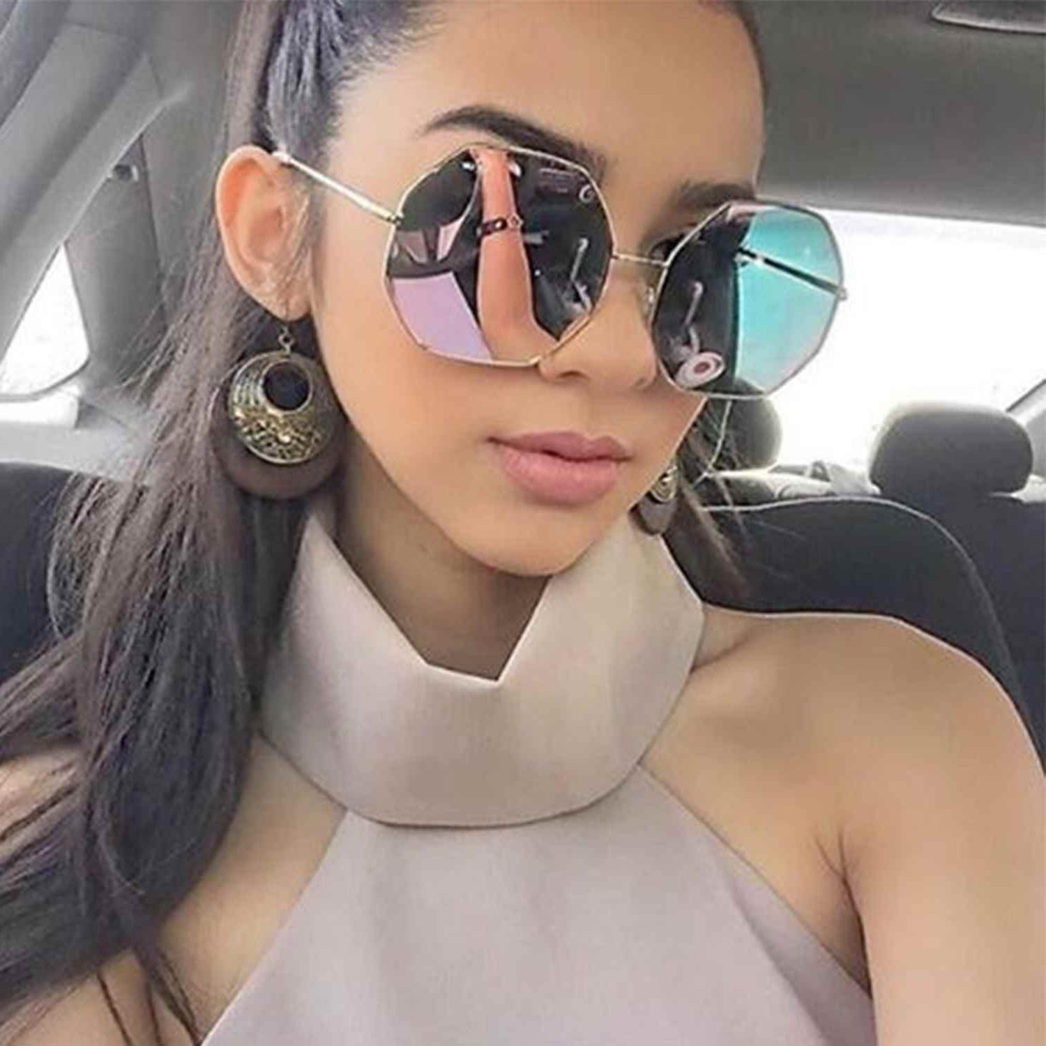 oversized women fashion sunglasses octagon metal frame