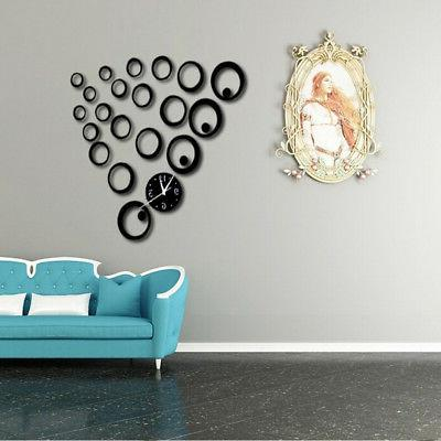 Quartz Decorative Clocks 3d Acrylic Mirror Living