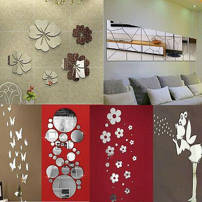 removable mirror decal art mural wall stickers