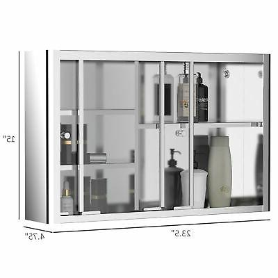 Restroom Sturdy Pantry with Glass, Silver