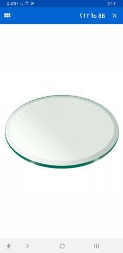 "Fab Glass and Mirror Round Clear Glass Table Top with 1"" Bev"