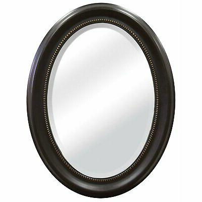 round oval bathroom wall mirror with beveled