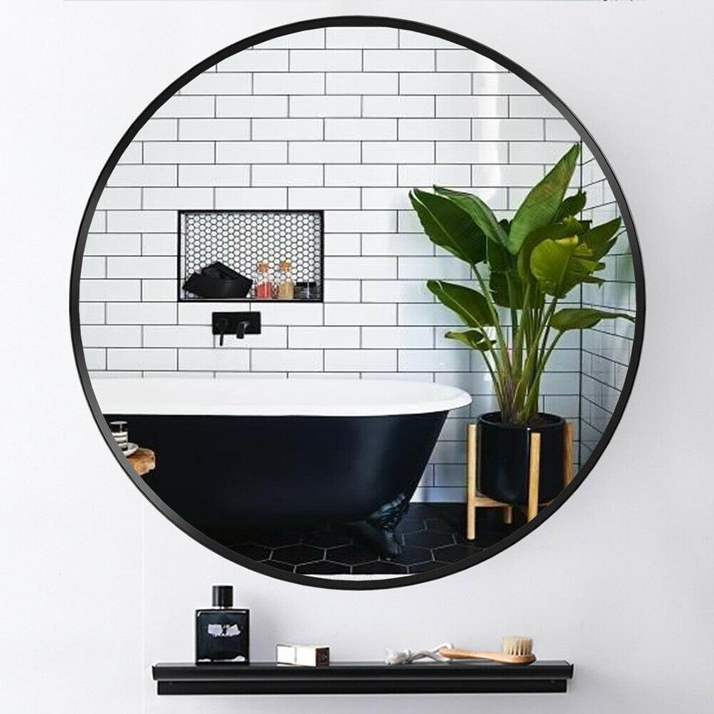 round wall mirror metal black frame bathroom
