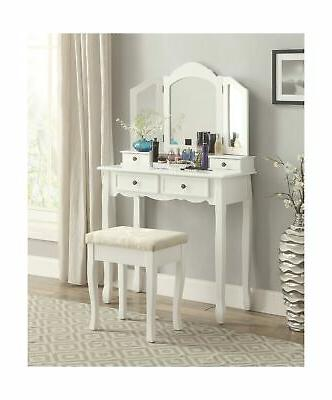 Roundhill Furniture Sanlo White Wooden Vanity, Make Up Table