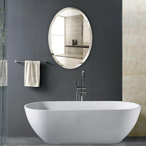 Oval Wall Mounted Mirror Frameless Horizontal Vertical Room