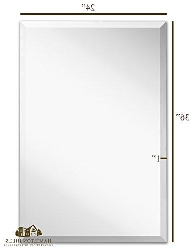 Large Simple Rectangular 1 Inch Mirror Backed Rectangle Mirrored Glass Bathroom Hangs Horizontal Vertical Frameless