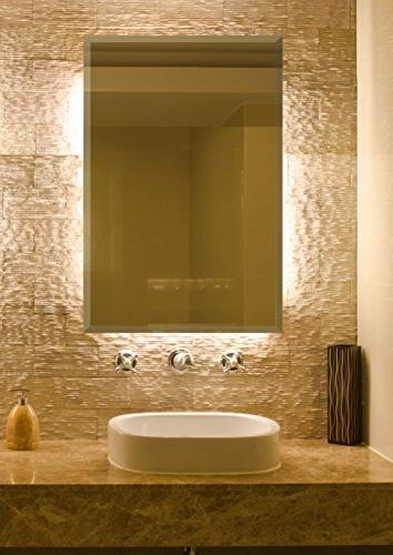Large Simple Streamlined 1 Inch Mirror | Backed Panel or Bathroom Hangs Horizontal & Vertical