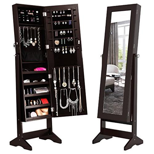 LANGRIA Lockable Jewelry Armoire with Mirror Jewelry Holder 4 Angle