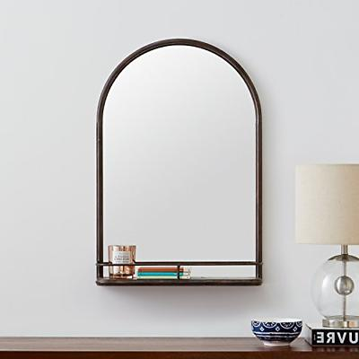 "Stone & Beam Arc Iron Mirror Shelf, 30""H, Dark"