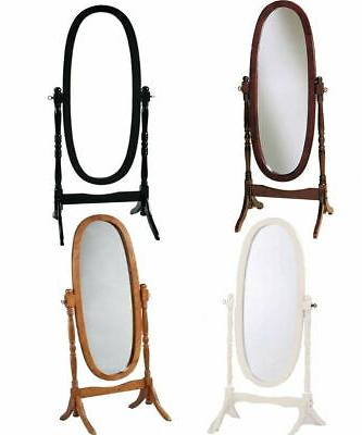Swivel Full Length Standing Wood Cheval Floor Oval Mirror Wh