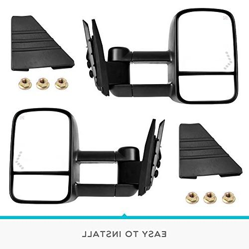 Towing for Chevrolet/GMC/Cadillac Silverado/Sierra Pair Set Power Tow Heated Telescoping with LED Light Mirrors