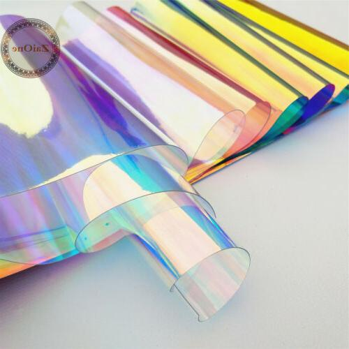 transparent clear holographic iridescent pvc fabric mirror