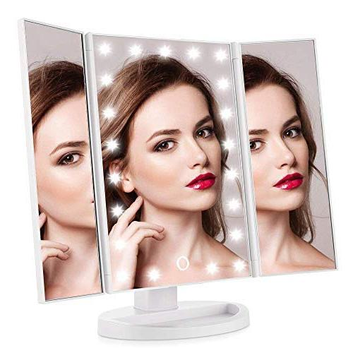 tri fold lighted vanity mirror