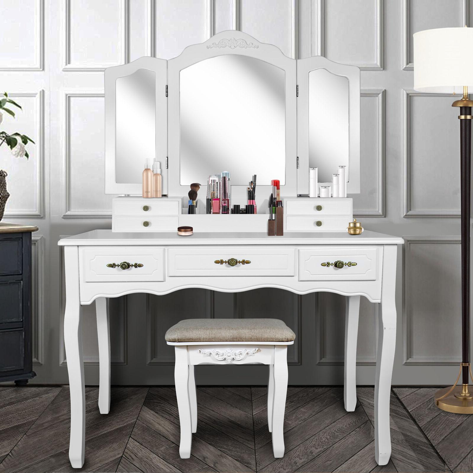 Tri Folding Mirror Vanity Dressing Table Set With Cushioned Stool 7 Drawers