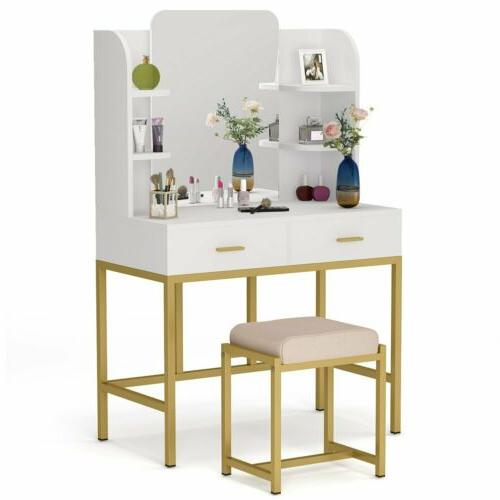 Stylish Vanity Table and Stool Set 2 Drawers Dressing Table