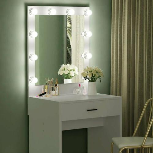 Tribesigns Lighted White Vanity Table Set with Huge Mirror f