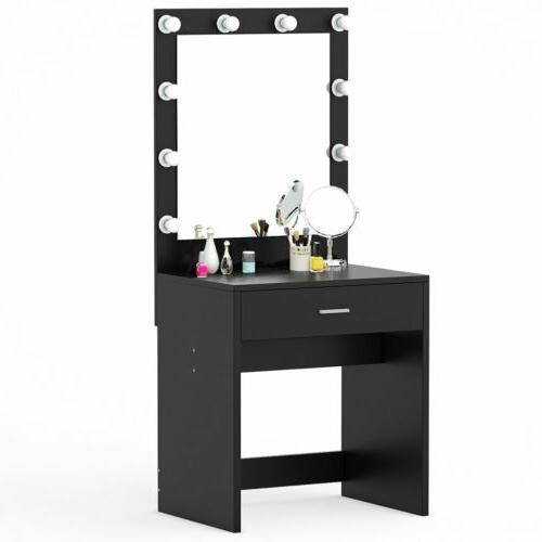 Modern 10 Led Lighted Vanity Table Set with Mirror and Drawe