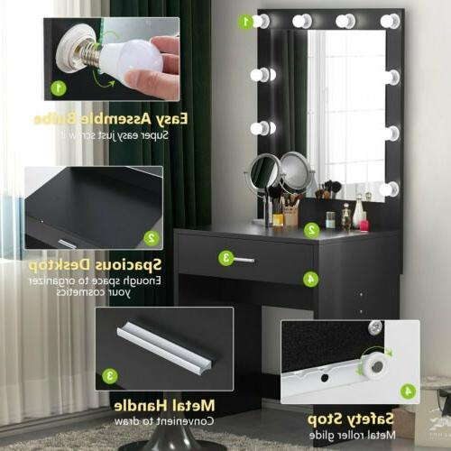 Women Lady Vanity Set with Lighted Mirror Makeup Dressing Ta