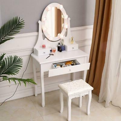 Oval Mirror Table with 3 Drawers