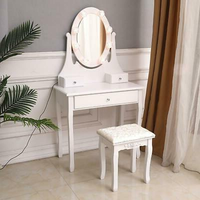 Vanity Oval Mirror Dressing Table with LED 3 Drawers